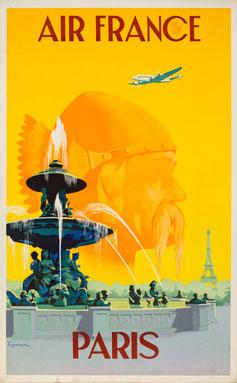 Vintage Poster Air France Paris Vincent Guerra