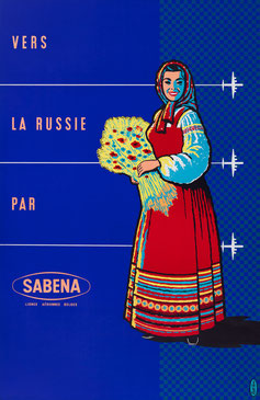 Vintage Poster SABENA Vers la Russie Publi Tera
