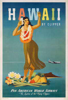 Vintage Poster Pan American World Airways  Hawaii by Clipper John Atherton