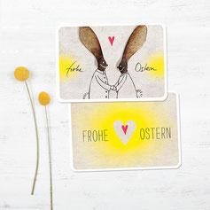 postkarten ostern osternasen gelb