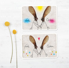 postkarten ostern osternasen bunt