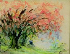Claude-Émile Schuffenecker, Bouquet d'arbres au feuillage rouge, pastel sur papier, collection musée des beaux-arts de Brest métropole.