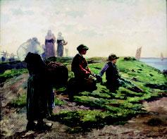 Achille Granchi-Taylor, Concarneau, l'attente des pêcheurs, huile sur toile, collection musée des beaux-arts de Brest métropole.