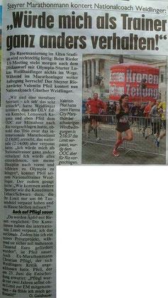 Bericht in der OÖ-Krone über die Aussagen von Weidlinger gegen die Marathonläufer