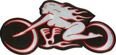 Großer Scout Lady Ghostrider Streetfighter Motorradfahrerin Biker-Rockerbraut BackpatchAufnäher gesticktes Emblem