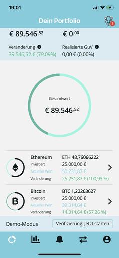 Screenshot der Bison-App mit Bitcoin und Etherium
