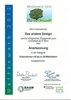 Anerkennungsurkunde Wettbewerb Büro & Umwelt