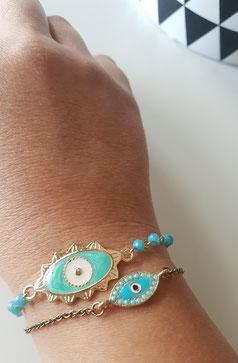 Pulsera evil eye COCO y Pulsera BLUE con cadena