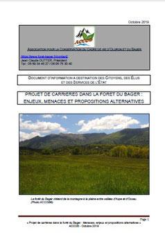 Document d'information du mois d'Octobre 2019 à l'attention des élus, des citoyens. Association ACCOB (défense de l'environnement Nature) à Oloron