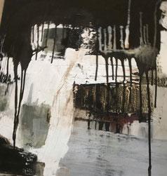 Bild: Neuer Weg 1, 100 x 100 x 2 cm, Acryl-Mischtechnik mit Bitumen, Asche