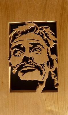 Portrait de Jean Ferrat - Atelier Eclats de bois