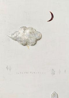 夜の森 F6 canvas mixedmedia 胡粉 金箔 銀箔 銅板 terracotta ¥50,000-