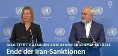 Ende der Iran-Sanktionen. Bei der Pressekonferenz  am 16.1.2017 EU-Beauftragte Mogherini und Irans Aussenminister Sarif. Screensh