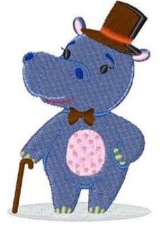 Zootiere: Hippo mit Hut