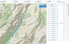 """Übersichtskarte - Wanderung mit Angaben zu unserer """"Pace"""" :-) (c) Runtastic"""
