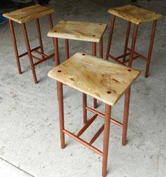 Camphor laurel & Australian rosewood stools. SOLD