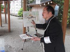 上賀茂神社の風景画を描く