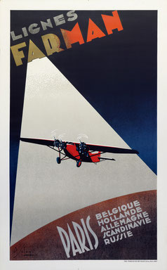 Lignes Farman - Paris - Albert Solon - Original vintage airline poster printed in 1932