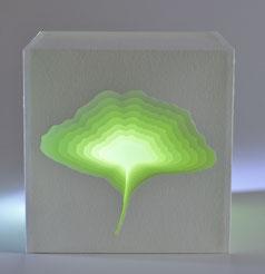 Ginkgoblatt, Papier, Dekoobjekt, Lichtwürfel