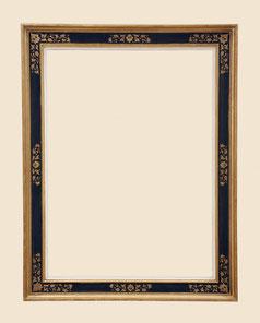 Stilkopie Renaissancerahmen, Echtgold, 23.75 Karat, mit Radierornament und Farbe