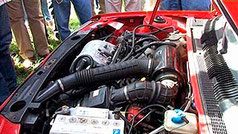 View of the oxyhydrogen powered car engine. More on the DVD that comes with the printed DIY manual.