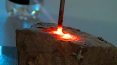 "The popular ""Nail-In-The-Stone"" experiment: Welding a steel nail into a granite stone is very easy."