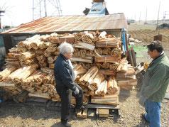 風が強まる中で薪の整理を行いました。Hiroshimochida先生と小林夢狂MukyoKobayashi