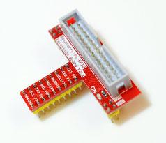GPIO拡張ボードコネクタ ボードに挿したところに信号名が読めて使い勝手が良い