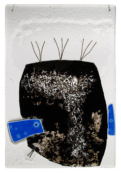 """o.T."" 21 x 30 cm glas, mixed media /2008"