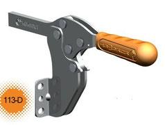 Kniehebelspanner horizontal mit massivem Haltearm und Winkelfuß