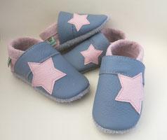 Sternenpuschen Lederschuhe, grau, rosa, Handgemachte Puschen nach Maß, Krabbelschuhe nach Maß, Babyschuhe, Lauflernschuhe, Puschen