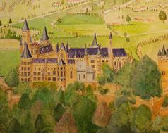 天空の城(オーエンツォルレン城)    (油彩・61x53.6)