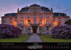 Das Landratsamt in Rudolstadt im Sonnenuntergang.