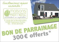 bon de parrainage de 300 euros offerts en cas de recommandation aboutissant à une construction de maison neuve
