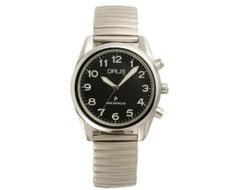 GRUSボイス電波腕時計 ブラック×シルバー GRS003-02