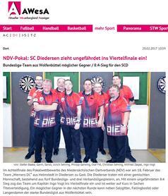 SC Diedersen zieht ins Viertelfinale ein