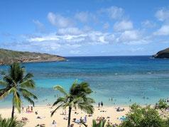 ハワイ オアフ島 東海岸 ハナウマ湾 青い海 青い空 ハワイの素晴らしい景色