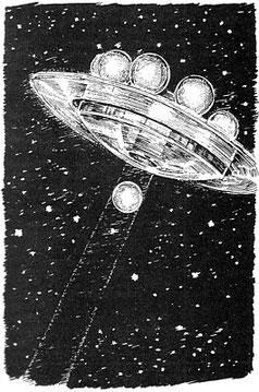 """Die Raumstation und ihr """"abarisches Feld"""";  aus Kurd Laßwitz, """"Auf zwei Planeten"""" (1897), Illustration von Walter Zeeden"""