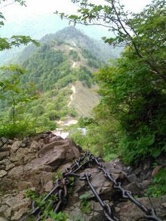 石鎚山、登拝道、鎖場