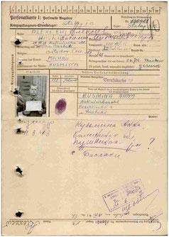 Personalkarte des sowjetischen Kriegsgefangenen Wasilij M. Alexejew, der am 15.09.1942 in das Arbeitskommando der Bremer Francke-Werke eingesetzt wurde und am 11.03.1942 an Tuberkulose starb, Quelle https://obd-memorial.ru
