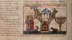 menorah in Biblia. V.T. Octateuchus. Greek Text. Polonsky Foundation Digitization Project