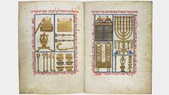 Medieval Perpignan Bible, copied by Solomon ben Raphael seven-branched menorah,  BnF hébr. 7