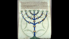 menorah in Compendium historiae in genealogia Christi. Manuscript France, Pierpont Morgan Library. MS M.367
