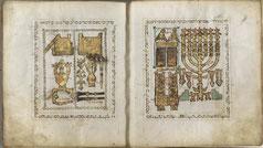 Menorah in Toledo Bible. Italy Palatina Library, Parm. Ms. 2668
