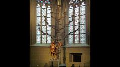 Menorah in Klosterneuburg Monastery is located northwest of Vienna, Austria