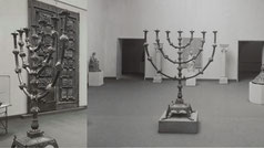 Amsterdam. Hall with objects from churches and monasteries. Large candlestick menorah