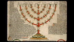 menorah in Compendium historiae in genealogia Christi. Petrus Pictaviensis, Peter; Pierre de Poitiers