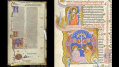 Latin Bible menorah from Padua, Italy. Apocalypse menorah, Christ sending Angel to John