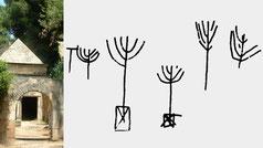 Ancient menorah, Jason's tomb rock-cut seven armed menorahs and ships in Jerusalem Hasmooneans