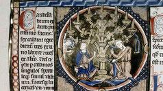 Bible moralisée. candlestick menorahgold. Paris, France. MS. Bodl. 270b